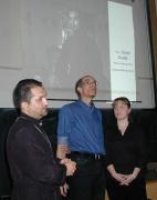 Zleva: David Dudáš, Chad E. Wyatt a Lenka Bryndová na besedě se studenty (Foto: J. Šustová)