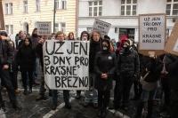 Demonstrace proti vystěhovávání z ubytovny v Ústí nad Labem - Krásném Březně před ministerstvem práce v Praze (Foto: Jana Šustová)