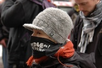 Účastnice demonstrace před budovou MPSV (Foto: Jana Šustová)