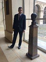 Marek Toman next to the bust of Jan Masaryk, photo: Pavla Horáková