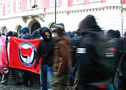 Průvod anarchistů v centru Prahy