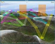 Příklad celkového pohledu na hornatý terén, kde musí letadla operovat snaznačenými koridory
