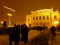 The menorah in front of the Rudolfinum before the lighting ceremony, photo: Masha Volynsky