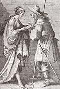 Hádání z ruky. Francouzská rytina ze 17. stol.