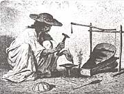 Theodor Valerio: Romský kovář. Rytina.