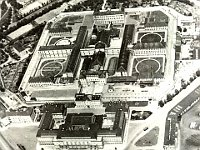Historical aerial view of the prison complex at Pankrác