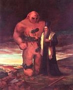 Karel Dvořák: 'Rabbi Loew and Golem above Prague'