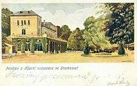 Šlechtova restaurace ve Stromovce na barevné pohlednici zpočátku 20. století