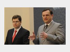 Justice Minister Jiří Pospíšil, Prime Minister Petr Nečas, photo: CTK