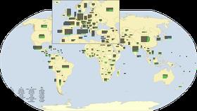 Aktuální mapa památek zapsaných na seznam světového dědictví UNESCO, zdroj: NordNordWest, CC BY-SA 3.0 DE