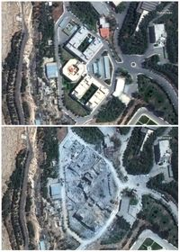 Barzah Research and Development Center in Syria on April 13, 2018, top, and on April 15, bottom, following a U.S.-led allied missile attack, photo: CTK