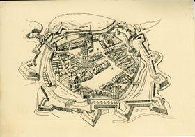 Die Festung  Uherské Hradiště, Tuschezeichnung aus dem 17. Jahrhundert (Zeichnung Jiří Heřman, Museum der Mährischen Slowakei)