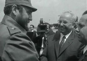 Fidel Castro con el presidente Gustáv Husák, foto: ČT