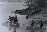Fishermen fishing out Talinsky Pond
