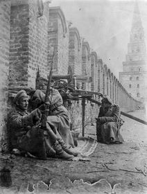 Soldiers get ready at their position atop of the Kremlin Wall in Moscow, Russia, October 1917, photo: CTK