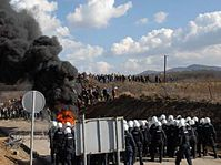 Les émeutes au passage frontière de 'Gate 3' dans la région de Merdare, photo: www.army.cz