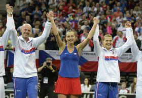 Petr Pála, Petra Kvitová y Lucie Šafářová, foto: ČTK