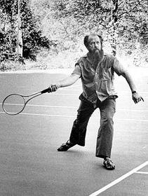 Alexander Solzhenitsyn plays tennis at Norwich University in Northfield, 1975, photo: CTK