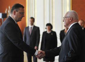 Petr Nečas (left), Václav Klaus, photo: CTK