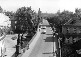 Traffic on Charles Bridge in 1960s