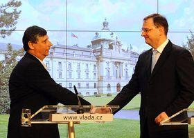 Jan Fischer et Petr Nečas, photo: CTK