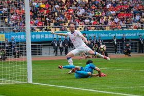 China - Czech Republic. Michael Krmenčík scores, photo: CTK
