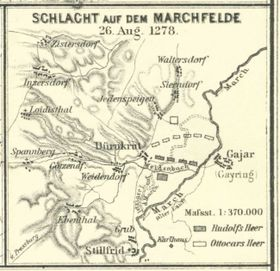 Schlacht auf dem Marchfeld (Quelle: Wikimedia Commons, Public Domain)