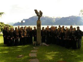 Le monument de Jan Palach au bord du lac Leman, à Vevey