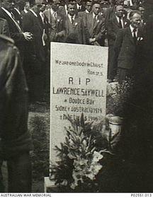 The grave of Lawrence Saywell, photo: Australian War Memorial, Public Domain