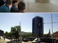 Plzen - août 2002 et août 2003, photo: CTK