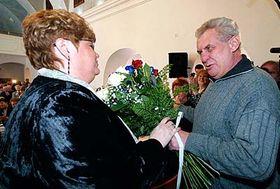 Jana Volfová aMiloš Zeman, foto: ČTK