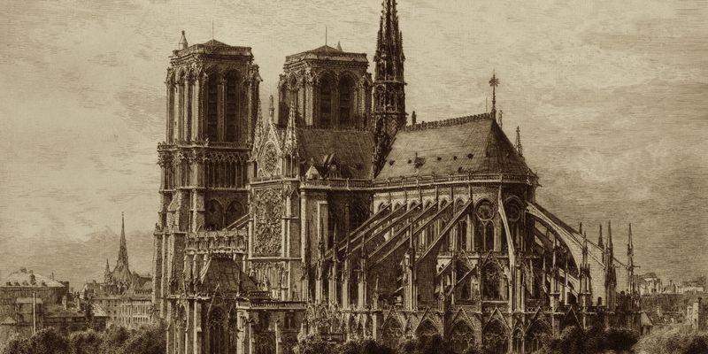 Cathédrale Notre-Dame de Paris par Alfred-Alexandre Delauney, source:  Library of Congress, public domain