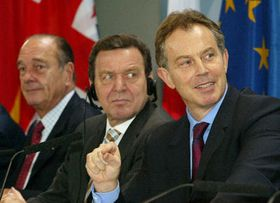 Jacques Chirac, Gerhard Schroeder and Tony Blair, photo: CTK