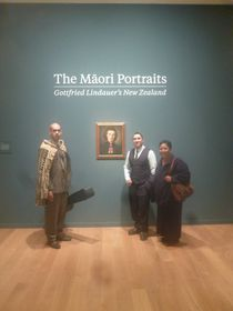 Frank Tomas Grapl Junior, Eru Haimona and Tuhi Grapl at the The Maori Portraits: Gottfried Lindauer's New Zealand exhbition, photo: archive of Frank Tomas Grapl Junior / Whakaari Rotorua
