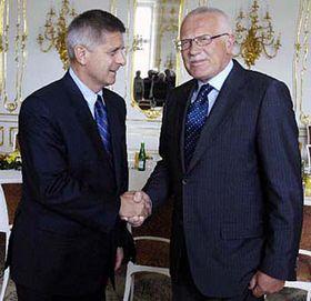 Marek Belka (left) and  Vaclav Klaus, photo: CTK