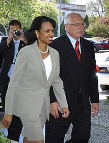 Český prezident Václav Klaus se setkal samerickou ministryní zahraničí Condoleezzou Riceovou, foto: ČTK