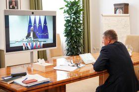 Una videoconferencia entre los líderes de la Unión Europea, foto: Archivo de la Oficina de Gobierno de la República Checa