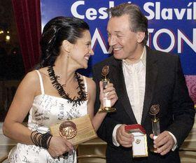 Czech Nightingale pop-music awards: Lucie Bila and Karel Gott, photo: CTK