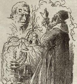 Golem y el rabino Judah Loew en la pintura de Mikoláš Aleš