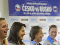 Чешские теннисистки перед началом финала Кубка Федерации 2015