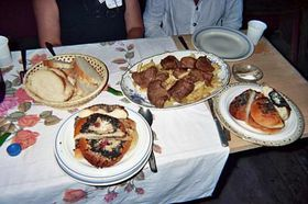 The food that was served at the Culture Home - lots of kolache (cake)!