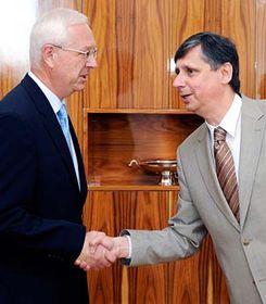 Jiří Drahoš y Jan Fischer, foto: ČTK
