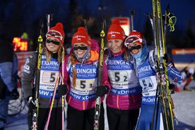 Eva Puskarčíková, Gabriela Soukalová, Lucie Charvátová, Veronika Vítková, photo: CTK
