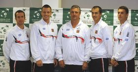 Radek Štěpánek, Tomáš Berdych, Jaroslav Navrátil, Lukáš Rosol y František Čermák, foto: ČTK