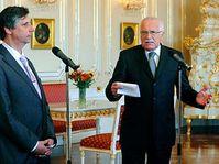 Jan Fischer (vlevo) a Václav Klaus, foto: ČTK