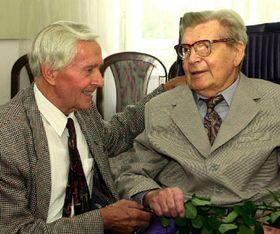 Miroslav Zikmund an d Jiri Hanzelka (right) in 2000, photo: CTK