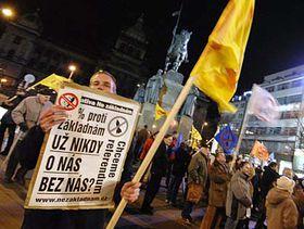 Protest odpůrců zřízení radarové stanice vČesku, foto: ČTK