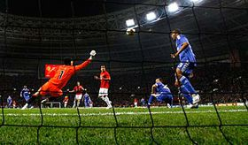 Petr Čech makes a save during the Champions League final soccer match against Manchester United