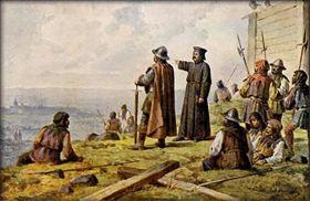 Jan Žižka con el sacerdote Koranda en la colina de Vítkov, mirando a Praga, 1420, foto: Wikimedia Commons / CC0