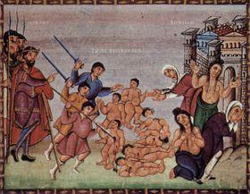 Kindermord zu Bethlehem - vraždění neviňátek (Codex Egberti, Szene: Bethlehemitischer Kindermord, Free Domain)